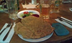 Das kleine Schnitzel mit Bratkartoffeln und Salat im Austria Berlin