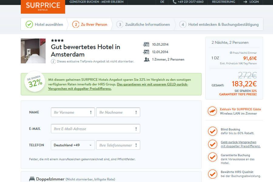 Surprice Hotels Buchungsmaske