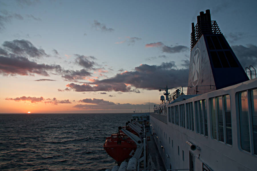 Sonnenuntergang an Bord der King Seaways