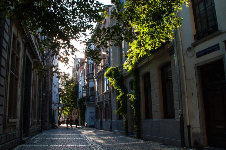 Kleine, niedliche Gasse in der Altstadt Antwerpens
