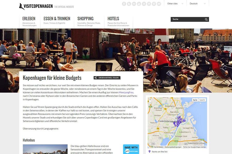 Screenshot der Seite http://www.visitcopenhagen.de/de/kopenhagen/kopenhagen-fuer-kleine-budgets