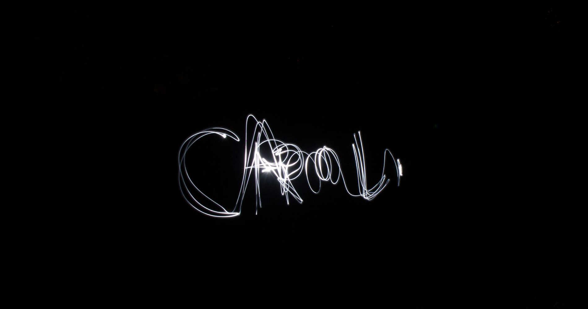 """Mit Licht Namen aufs Foto malen - hier der Versuch des Namens """"Carolin"""""""