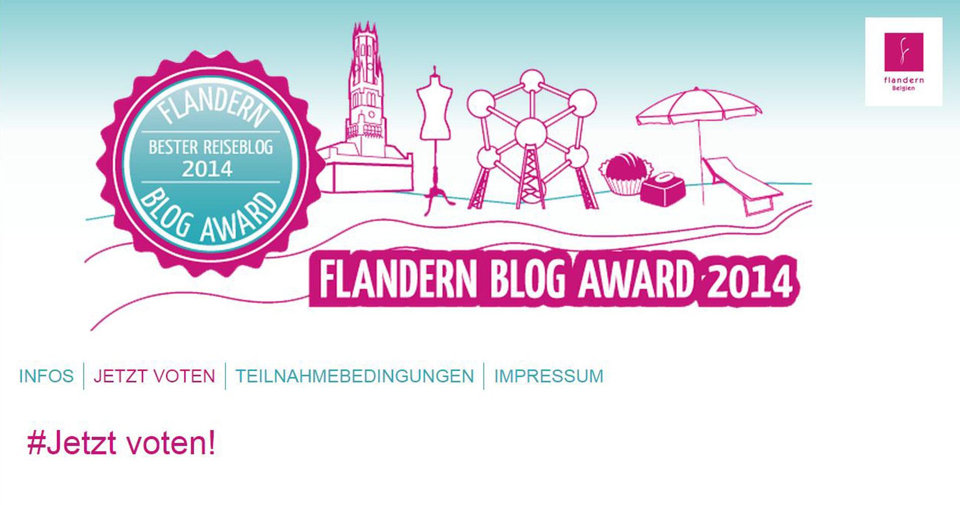 Screenshot vom Flandern Blog Award - jetzt abstimmen