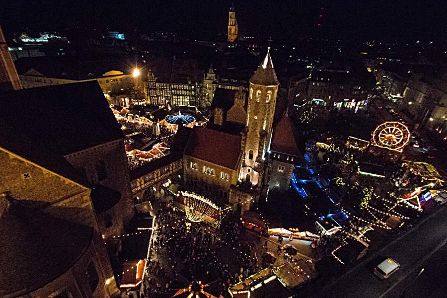 Der Braunschweiger Weihnachtsmarkt von oben