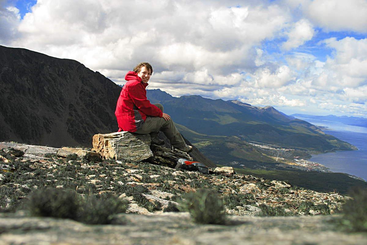 Nach einer Wanderung in den Bergen von Ushuaia, Feuerland