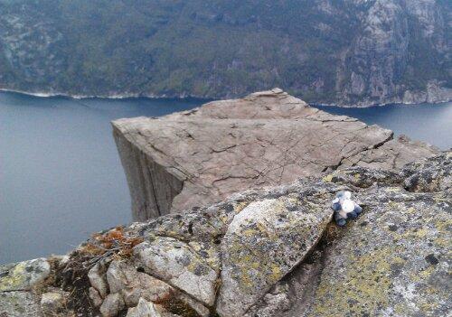 Der Esel auf dem Preikestolen am Lysefjord in Norwegen