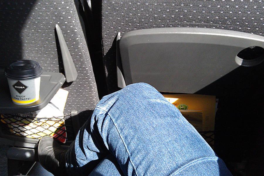 Mit meinen 1,65 hatte ich ausreichend Beinfreiheit im fast leeren ADAC Postbus.