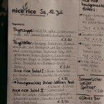 Die Tageskarte, mit Beschreibung des Tagestellers, im Nice Rice Wien