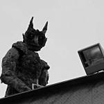Gruselige Figur auf dem Prater in Wien - natürlich an einer Geisterbahn.