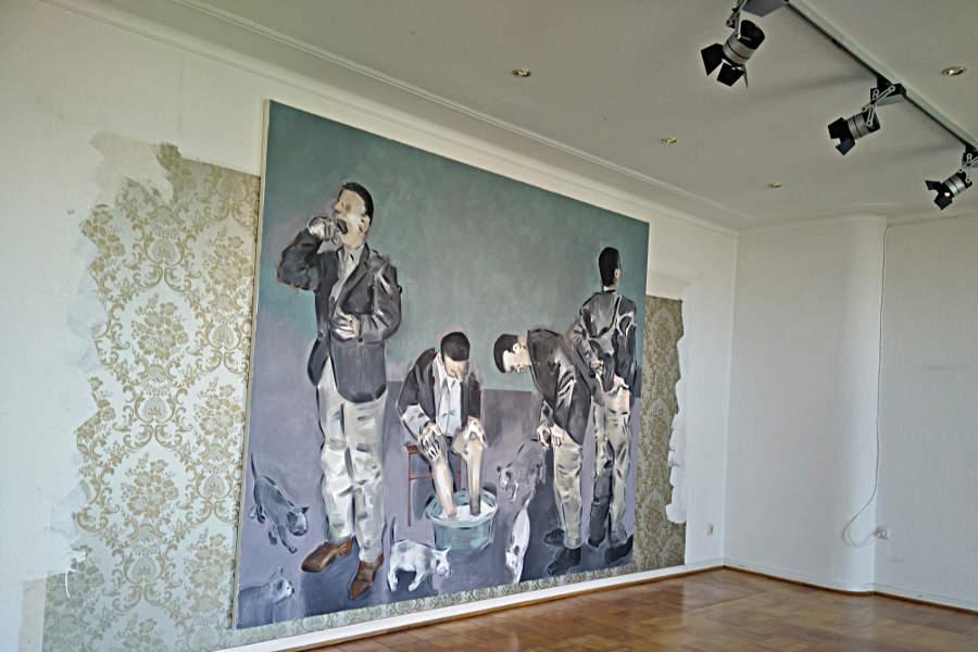 Eines der Werke von Apostolos Georgiou im Leder Meid-Apartment. (c) Carolin Hinz www.esel-unterwegs.de